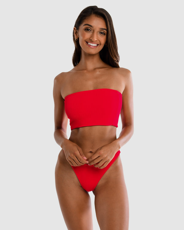 Florida Red Strawberry Strapless Boob Tube Bandeau Top Plus-Size Blonde Australian Sustainable Swimwear Recycled Plastic Beachwear