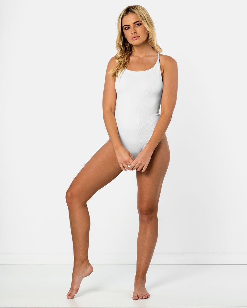 Toucan Pina Colada White One-piece Plus-Size Blonde Australian Sustainable Swimwear Recycled Plastic Beachwear
