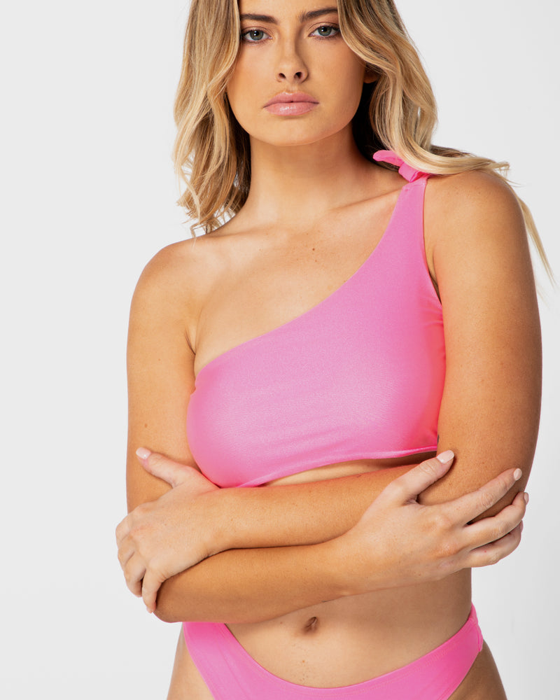 <b>Tulum</b><br>Pink Grapefruit Shouldered Top<br>Sustainable Australian Swimwear