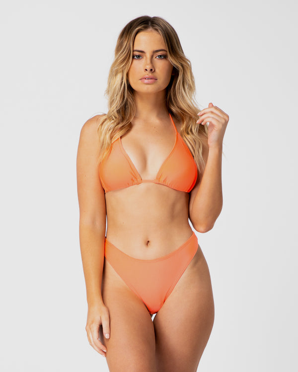 <b>Bora Bora</b><br>Orange Halter Top<br>Sustainable Australian Swimwear