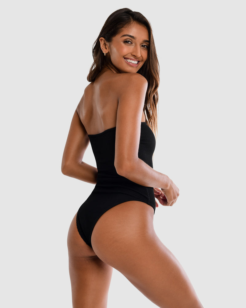 <b>Brazil</b><br>Black Ribbed Strapless One Piece in Blackberry Scent<br> Sustainable Australian Swimwear