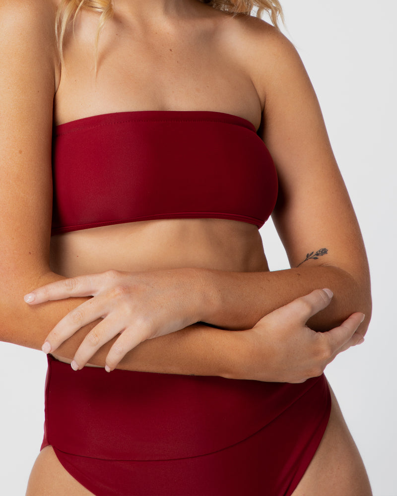 <b>Bahamas</b><br>Pomegranate Bandeau Top<br>Sustainable Australian Swimwear