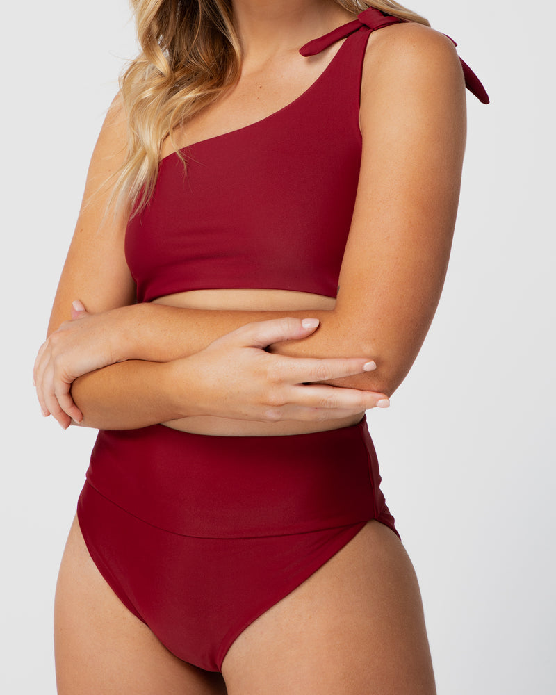 <b>Tulum</b><br>Pomegranate Shouldered Top<br>Sustainable Australian Swimwear
