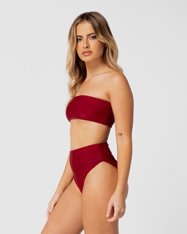 Jamaica Red Pomegranate High Waist Bikini Bottom Full Brief Plus-Size Blonde Australian Sustainable Swimwear Recycled Plastic Beachwear