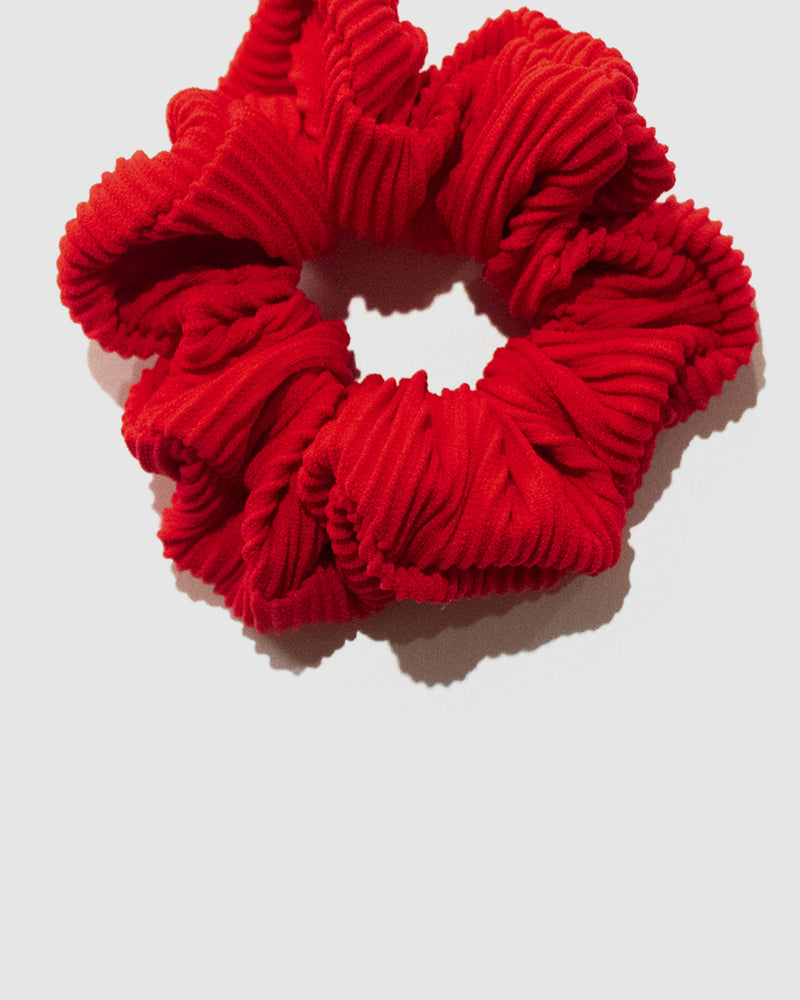 <b>Tahiti</b><br>Strawberry Ribbed Scrunchie<br>Sustainable Australian Swimwear