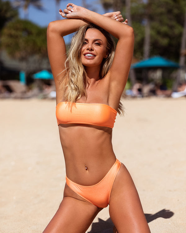 <b>Bahamas</b><br>Orange Bandeau Top<br>Sustainable Australian Swimwear