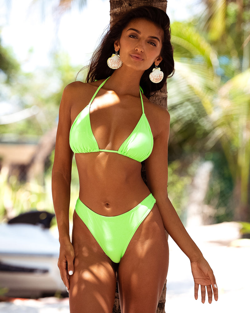 Bora Bora Lime Green Neon Bikini Halter Blonde Australian Sustainable Swimwear Recycled Plastic Beachwear
