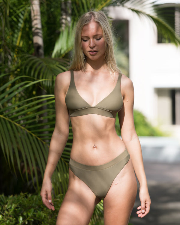 Chile Apple Green Bikini Triangle Blonde Australian Sustainable Swimwear Recycled Plastic Beachwear