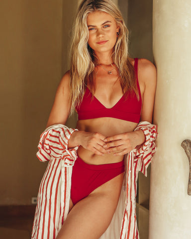 <b>Chile</b><br>Red Pomegranate Triangle Top<br>Sustainable Australian Swimwear