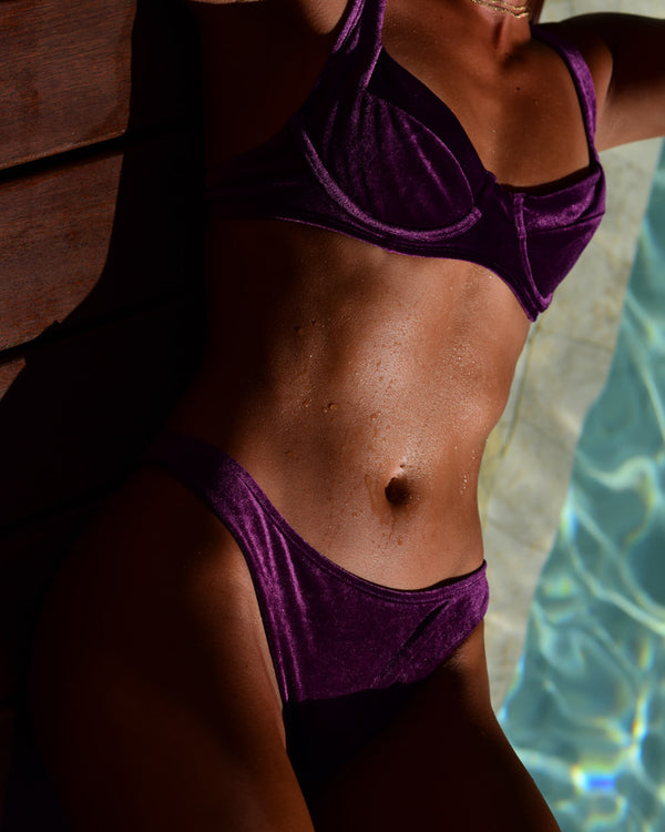 <b>Colombia</b><br>Zappo Purple Cheeky Bottoms<br>Sustainable Australian Swimwear