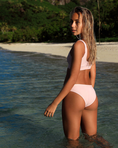 Ecuador Pink Lychee Bikini Bottom Cheeky Brief Blonde Australian Sustainable Swimwear Recycled Plastic Beachwear