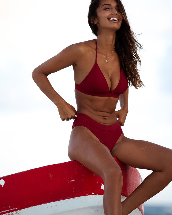 <b>Ios</b><br>Red Pomegranate Halter Bikini<br>Sustainable Australian Swimwear