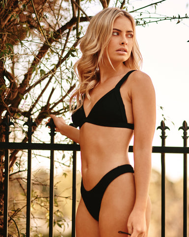 Positano Black Blackberry Triangle Bikini Top Plus-Size Blonde Australian Sustainable Swimwear Recycled Plastic Beachwear