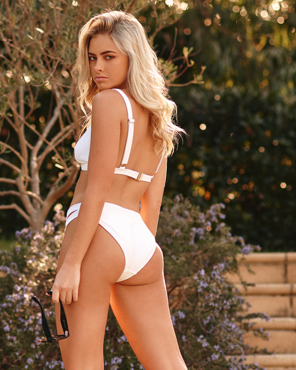 Sicily Pina Colada White Bikini Bottom Cheeky Brief Blonde Australian Sustainable Swimwear Recycled Plastic Beachwear