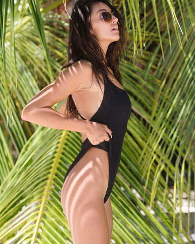 <b>Toucan</b><br>Black Ribbed One Piece Swimsuit<br>Sustainable Australian Swimwear