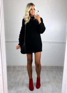 Crystal Chunky Knit Jumper Dress - Black