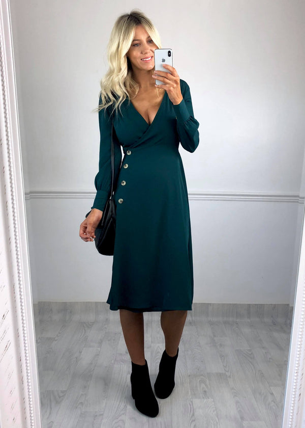 Becca Teal Wrap Button Midi Dress