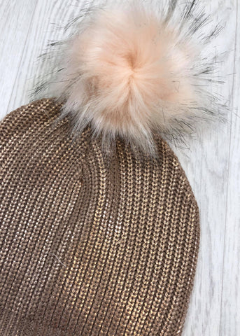 CeeCee Rose Gold Metallic Pom Pom Hat