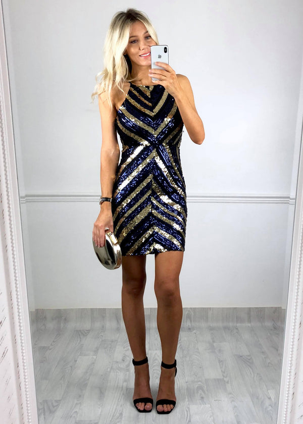 Alexis Chevron Sequinned Dress