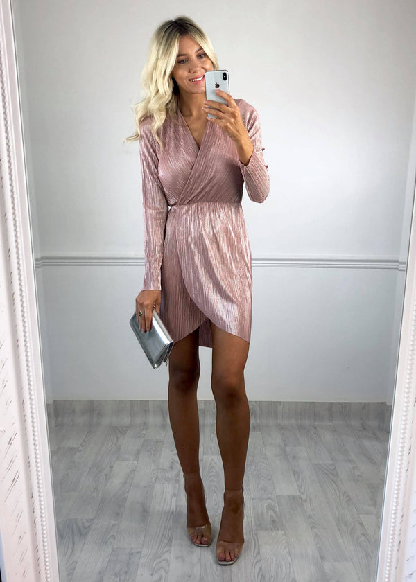 Kimmy Pink Shimmer Plisse Wrap Dress