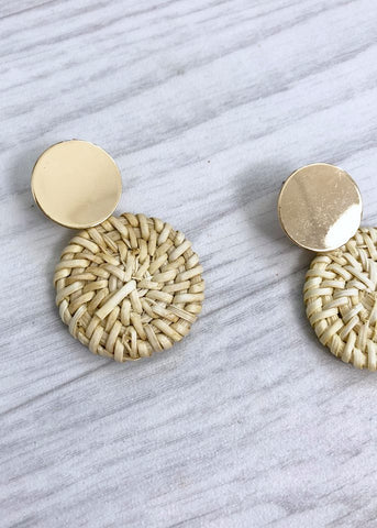 Wicker/Gold Circle Earring