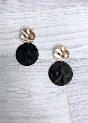 Circle Hammered Earrings - Gold and Black