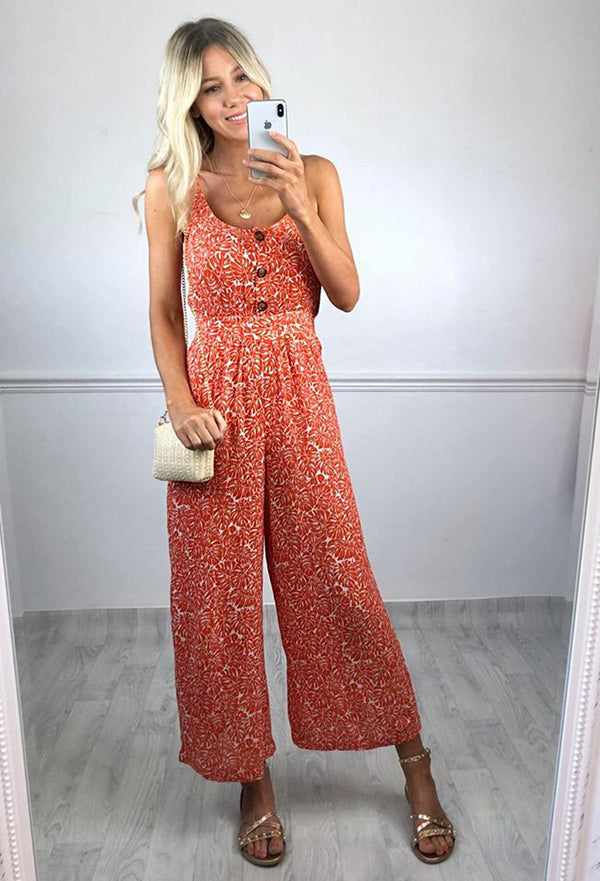 Paris Palm Print Jumpsuit