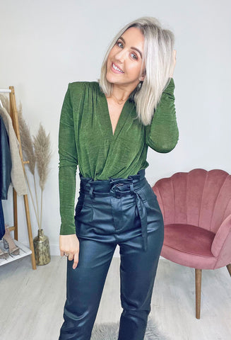 Amanda Wrap Bodysuit - Green
