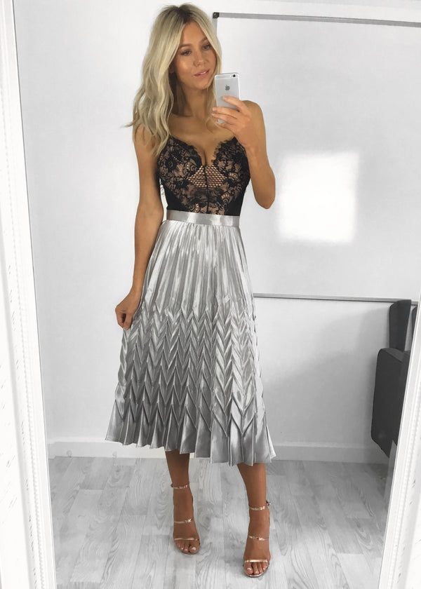 Bonnie Metallic Pleat Skirt - Silver