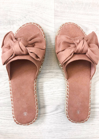 Honey Flat Bow Sliders - Pink