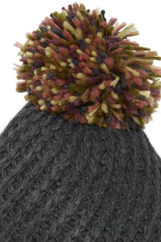 Ichi Pom Pom Knitted Hat - Grey