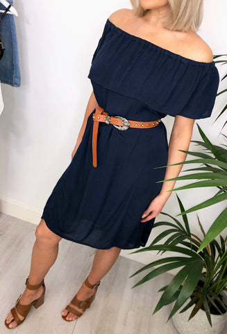 Ichi Haze Bardot Dress - Navy