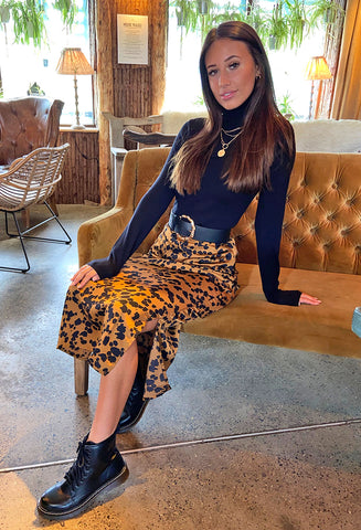 Brave Soul Eden Animal Print Midi Skirt