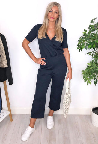 Ichi Oti Wrap Jumpsuit - Navy