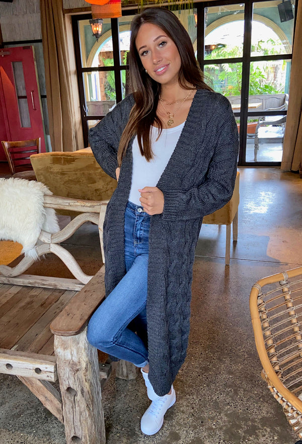 Brave Soul Chunky Cable Knit Fisherman Cardigan