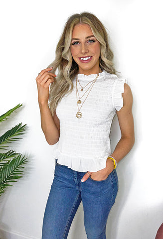 B. young Glady Frill Detail Top - White