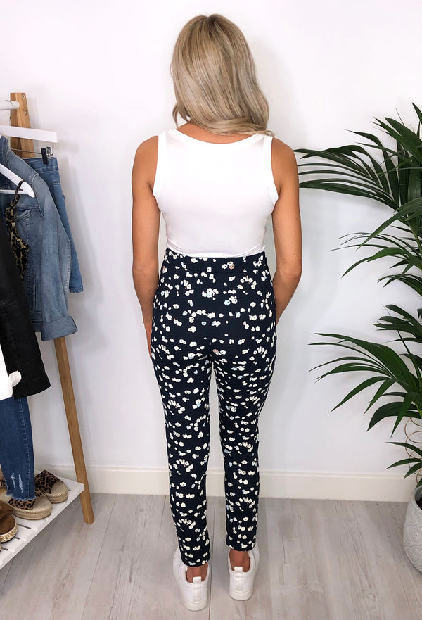 Ichi Raine Printed Trousers - Navy