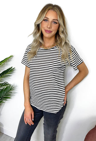 Ichi Josephine Striped T- Shirt - Black
