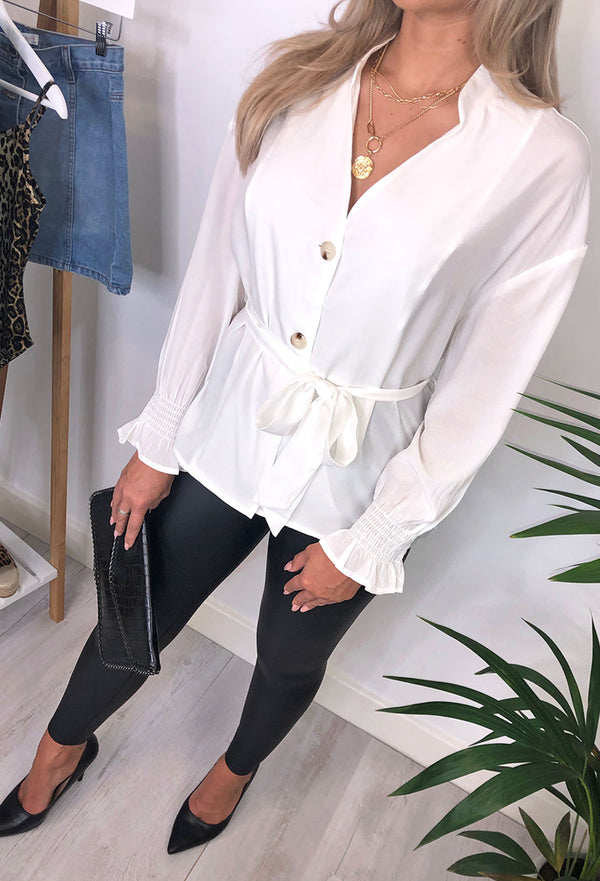 Wednesday Button Through Cuff Sleeve Top - White