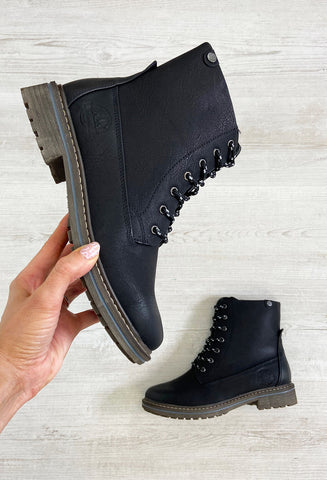 Black Ankle Boot With Lace Detail