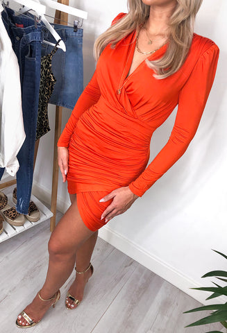 Nikki Ruched Wrap Mini Dress - Orange