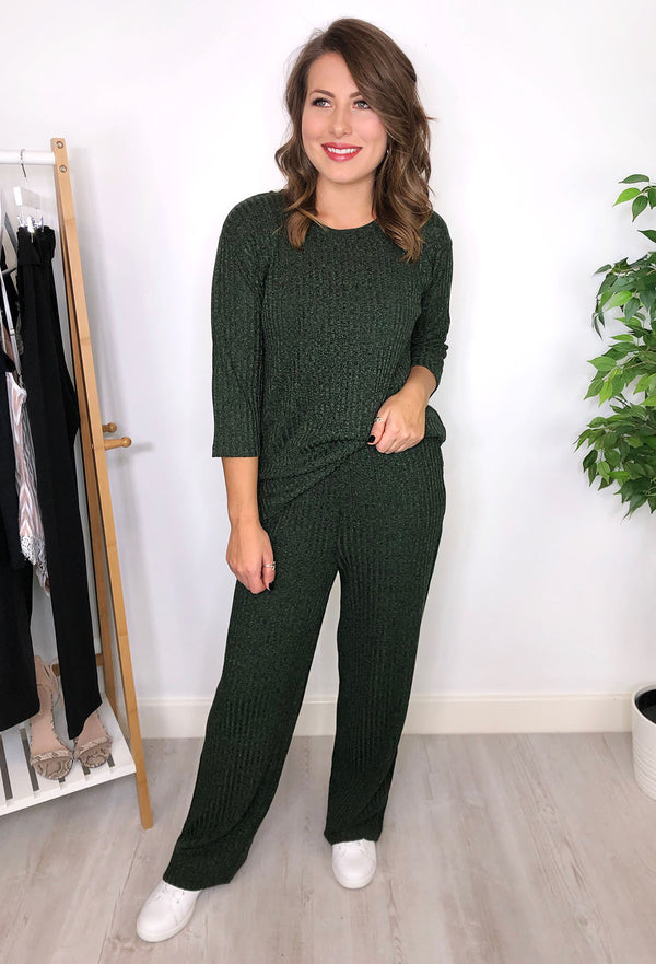 Zana Ribbed Sparkle Trousers - Green