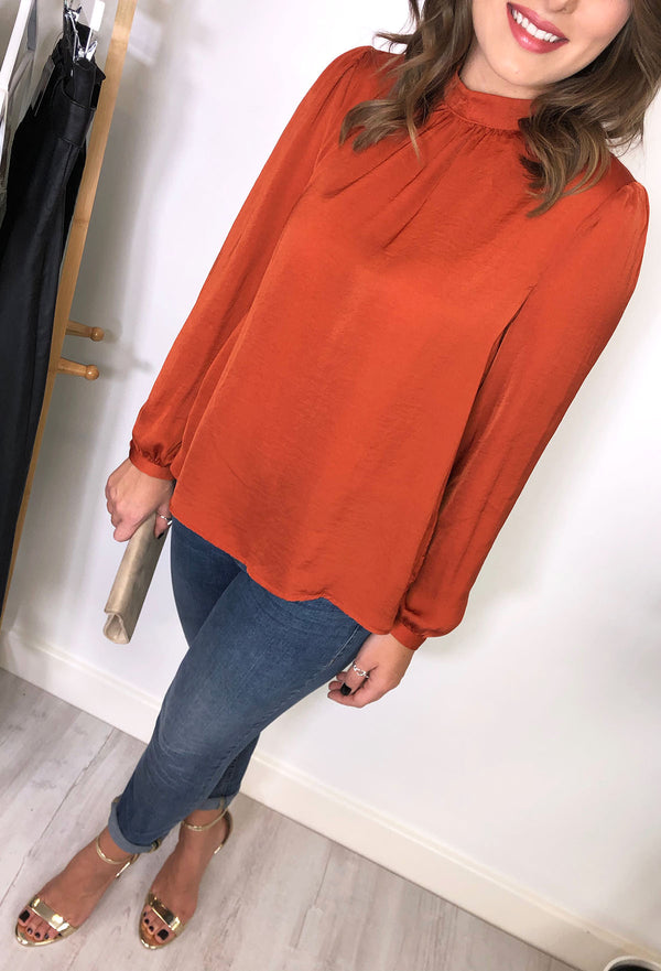 Priscilla High Neck Top - Rust