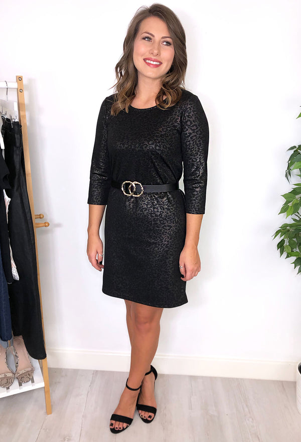 Eden Leopard Print Black Shift Dress