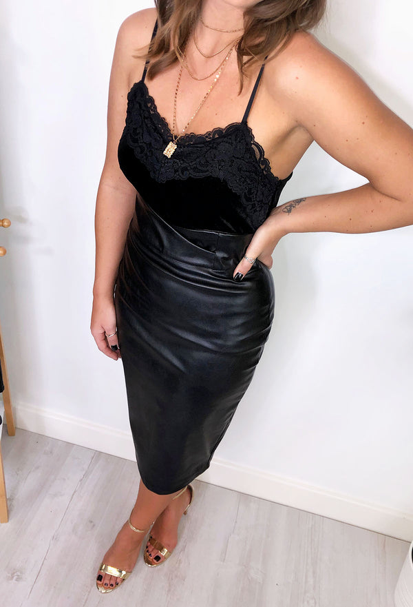 Brooke Faux Leather Pencil Skirt