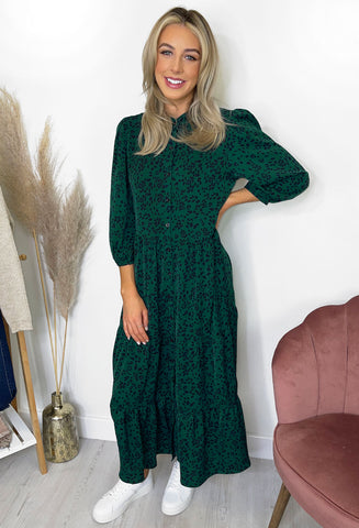 Padme Tiered Maxi Dress - Dark Green