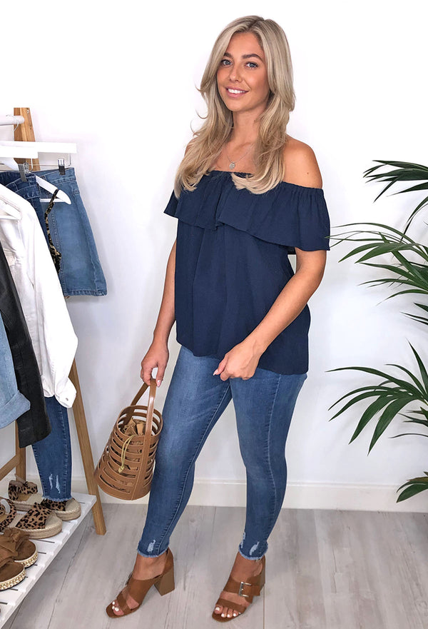 Ichi Ivy Bardot Top - Navy