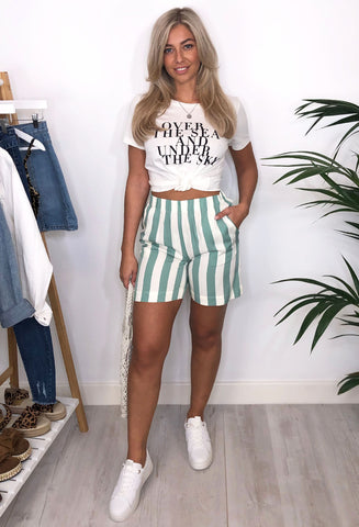 Ichi Helen Striped Shorts