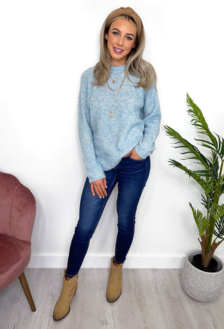 Renee Cosy Knit Jumper - Light blue