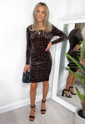 Elizabeth Leopard Print Velvet Dress - Black